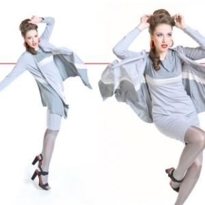Fashion, modelka w ruchu - jasny ubiór