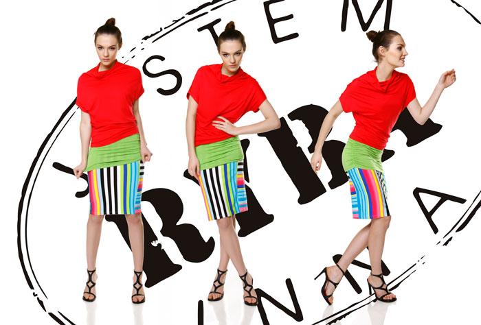 Fotografia mody, trzy zdjęcia modelki w czerwonej bluzce w różnych pozach