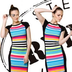 Fotografia mody, trzy zdjęcia modelki w kolorowej sukience