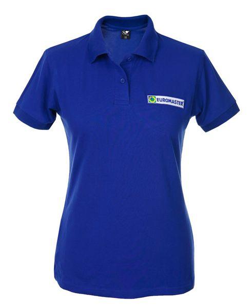 Packshot fotografia produktowa, niebieska koszulka polo damska