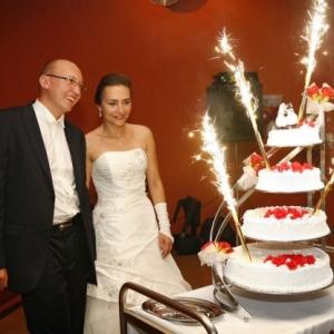 Fotografia ślubna - wesele, ceremonia z tortem